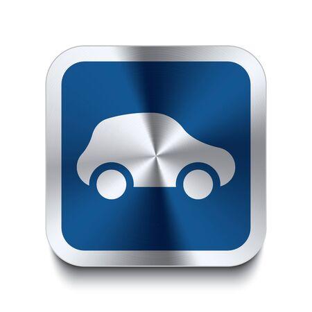 auto sign: Bot�n de metal cuadrada con coche icono de impresi�n en la parte superior de la misma parte de una colecci�n de botones de metal azul