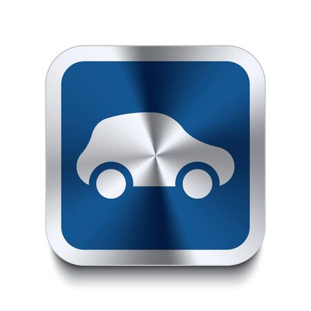 Square metal button with car icon print on top of it  Part of a collection of blue metal buttons  Vector