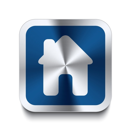 buy house: Square metal button with house icon print on top of it  Part of a collection of blue metal buttons