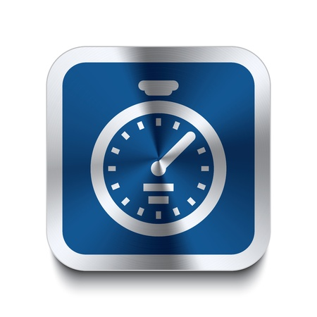 Square metal button with stopwatch icon print on top of it  Part of a collection of blue metal buttons  Vector