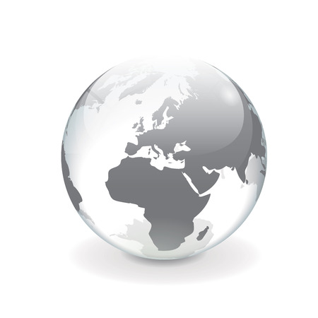 crystals: White and gray transparent 3d vector globe with map of Europe  Round shiny mirror surface effect, isolated on white background
