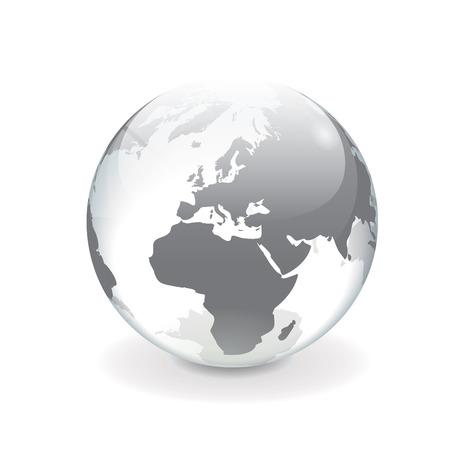 Wit en grijs transparant 3D-vector bol met kaart van Europa Ronde glanzende spiegel oppervlakte-effect, geïsoleerd op een witte achtergrond
