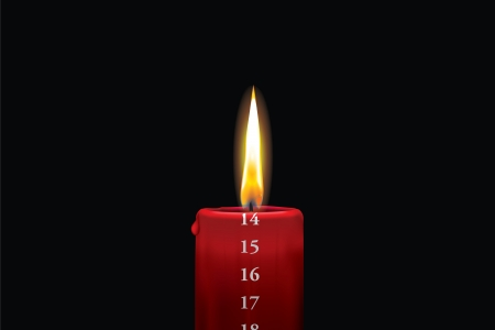 Realistic vector illustraton of a lit red christmas advent candle with the 14th of december showing  Decorative and beautiful art where you can feel the heat of the glowing flame
