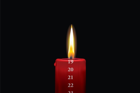 Realistic vector illustraton of a lit red christmas advent candle with the 19th of december showing  Decorative and beautiful art where you can feel the heat of the glowing flame