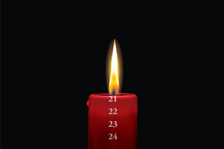 Realistic vector illustraton of a lit red christmas advent candle with the 21st of december showing  Decorative and beautiful art where you can feel the heat of the glowing flame  Vector
