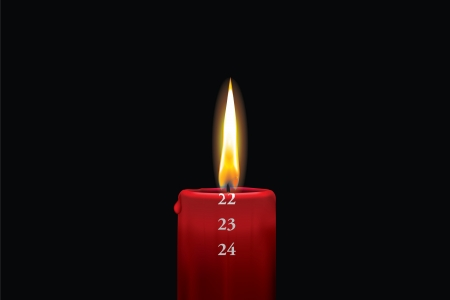 Realistic vector illustraton of a lit red christmas advent candle with the 22nd of december showing  Decorative and beautiful art where you can feel the heat of the glowing flame  Vector