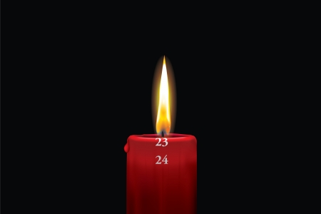 Realistic vector illustraton of a lit red christmas advent candle with the 23rd of december showing  Decorative and beautiful art where you can feel the heat of the glowing flame  Vector