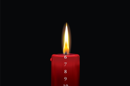 6th: Realistic vector illustraton of a lit red christmas advent candle with the 6th of december showing  Decorative and beautiful art where you can feel the heat of the glowing flame