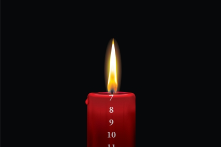 Realistic vector illustraton of a lit red christmas advent candle with the 7th of december showing  Decorative and beautiful art where you can feel the heat of the glowing flame  Illustration