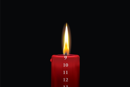 9th: Realistic vector illustraton of a lit red christmas advent candle with the 9th of december showing  Decorative and beautiful art where you can feel the heat of the glowing flame