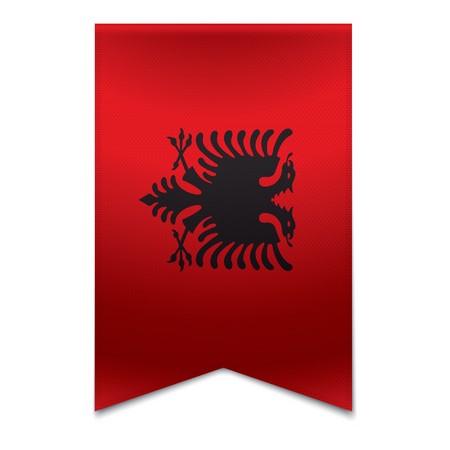 Realistic vector illustration of a ribbon banner with the albanian flag  Could be used for travel or tourism purpose to the country albania in europe