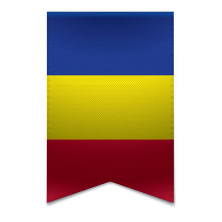 tourism in andorra: Realistic vector illustration of a ribbon banner with the andorran flag  Could be used for travel or tourism purpose to the country andorra in europe