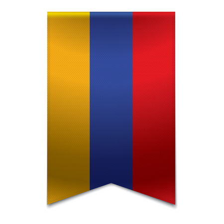 Realistic vector illustration of a ribbon banner with the armenian flag  Could be used for travel or tourism purpose to the country armenia in europe  Illustration