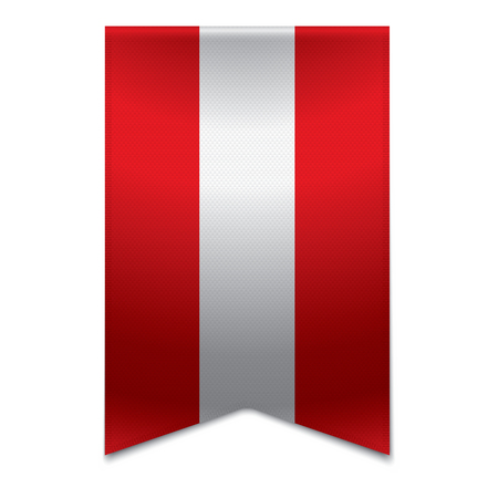 Realistic vector illustration of a ribbon banner with the austrian flag  Could be used for travel or tourism purpose to the country austria in europe