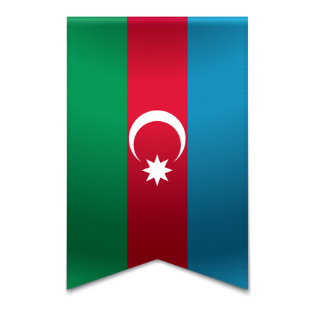 azerbaijani: Realistic vector illustration of a ribbon banner with the azerbaijani flag  Could be used for travel or tourism purpose to the country azerbaijan in europe