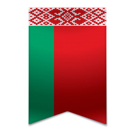 Realistic vector illustration of a ribbon banner with the belarusian flag  Could be used for travel or tourism purpose to the country belarus in europe