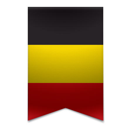 Realistic vector illustration of a ribbon banner with the belgian flag  Could be used for travel or tourism purpose to the country belgium in europe