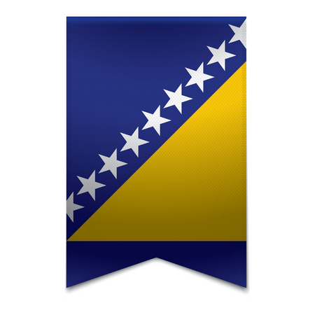Realistic vector illustration of a ribbon banner with the bosnian flag  Could be used for travel or tourism purpose to the country bosnia in europe  Illustration