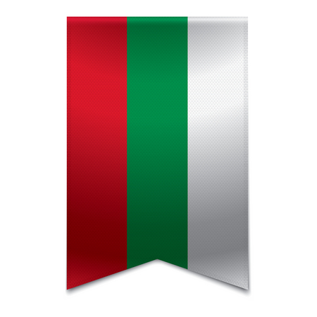 Realistic vector illustration of a ribbon banner with the bulgarian flag  Could be used for travel or tourism purpose to the country bulgaria in europe  Illustration