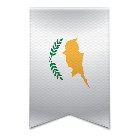 Realistic vector illustration of a ribbon banner with the cypriot flag  Could be used for travel or tourism purpose to the country cyprus in europe  Illustration