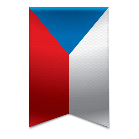Realistic vector illustration of a ribbon banner with the czech republic flag  Could be used for travel or tourism purpose to the country og the czech republic in europe  Illustration