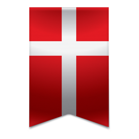 Realistic vector illustration of a ribbon banner with the danish flag  Could be used for travel or tourism purpose to the country denmark in europe  Illustration
