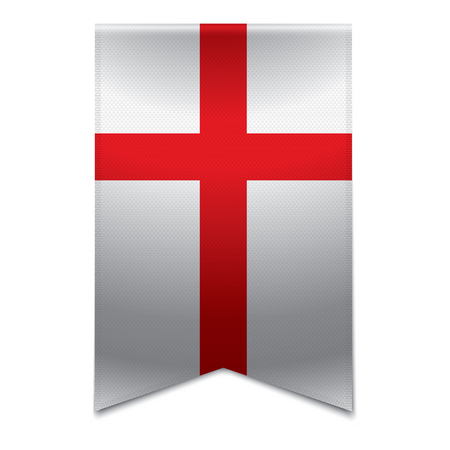 Realistic vector illustration of a ribbon banner with the english flag  Could be used for travel or tourism purpose to the country england in europe
