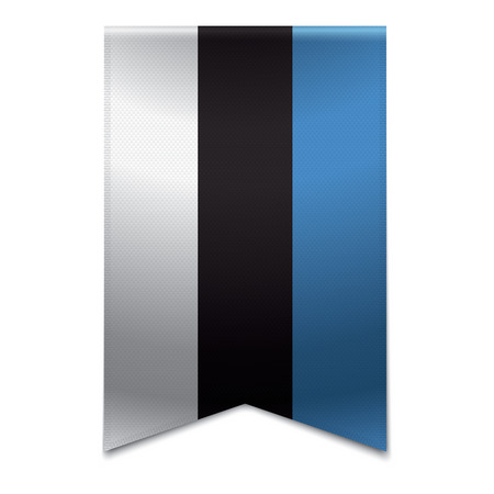 Realistic vector illustration of a ribbon banner with the estonian flag  Could be used for travel or tourism purpose to the country estonia in europe