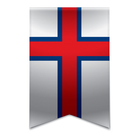 Realistic vector illustration of a ribbon banner with the faroese flag  Could be used for travel or tourism purpose to the country of the faroe islands in europe