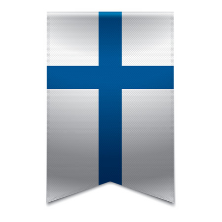finnish: Realistic vector illustration of a ribbon banner with the finnish flag  Could be used for travel or tourism purpose to the country finland in europe