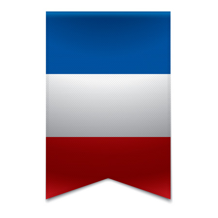 resizeable: Realistic vector illustration of a ribbon banner with the french flag  Could be used for travel or tourism purpose to the country france in europe