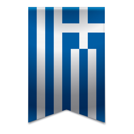 Realistic vector illustration of a ribbon banner with the greek flag  Could be used for travel or tourism purpose to the country greece in europe
