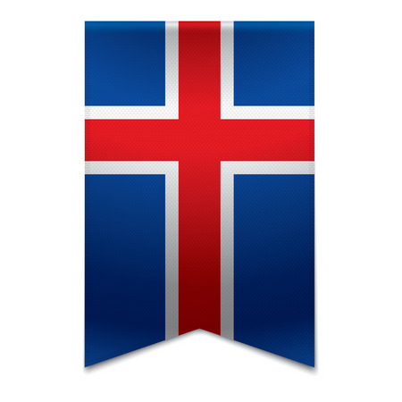 Realistic vector illustration of a ribbon banner with the icelandic flag  Could be used for travel or tourism purpose to the country iceland in europe  Illustration