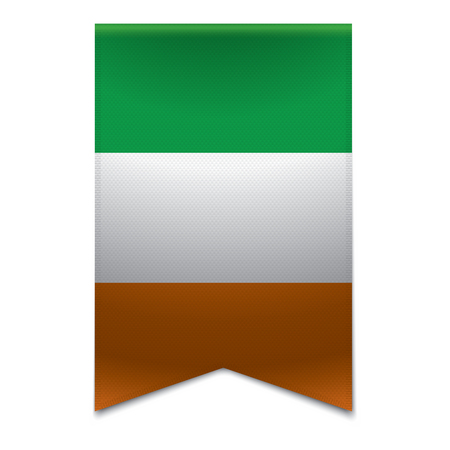 Realistic vector illustration of a ribbon banner with the irish flag  Could be used for travel or tourism purpose to the country ireland in europe