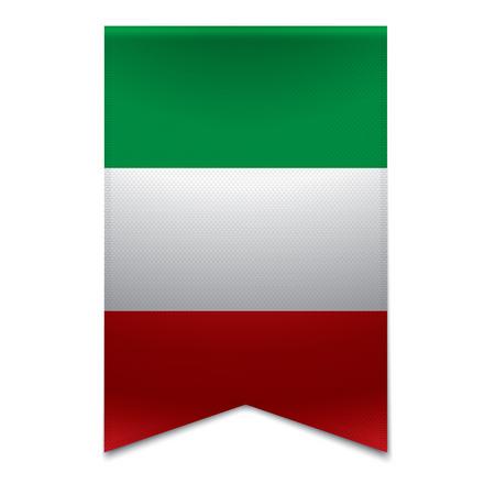 bandiera italiana: Realistica illustrazione vettoriale di un banner nastro con la bandiera italiana potrebbe essere utilizzato per i viaggi o turismo scopo per il paese Italia in europa