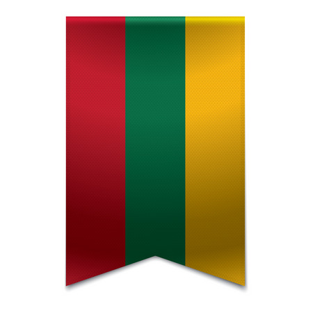 lithuanian: Realistic vector illustration of a ribbon banner with the lithuanian flag  Could be used for travel or tourism purpose to the country lithuania in europe