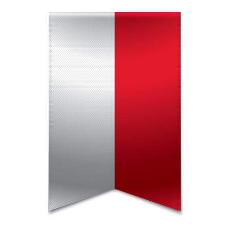 monegasque: Realistic vector illustration of a ribbon banner with the monegasque flag  Could be used for travel or tourism purpose to the country monaco in europe  Illustration