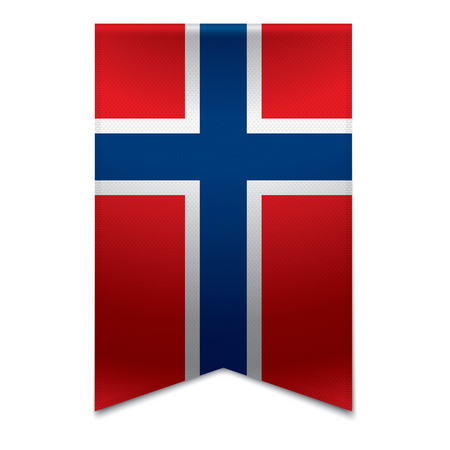 Realistic vector illustration of a ribbon banner with the norwegian flag  Could be used for travel or tourism purpose to the country norway in europe