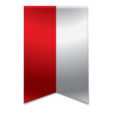 bandera de polonia: Ilustración vectorial realista de una bandera de la cinta con la bandera polaca Podría ser utilizado para fines de viaje o turismo al país polonia en europa