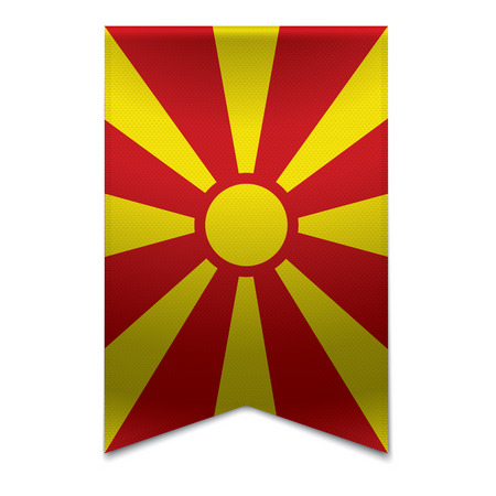 Realistic vector illustration of a ribbon banner with the macedonian flag  Could be used for travel or tourism purpose to the country macedonia in europe