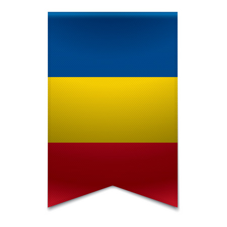 Realistic vector illustration of a ribbon banner with the romanian flag  Could be used for travel or tourism purpose to the country romania in europe