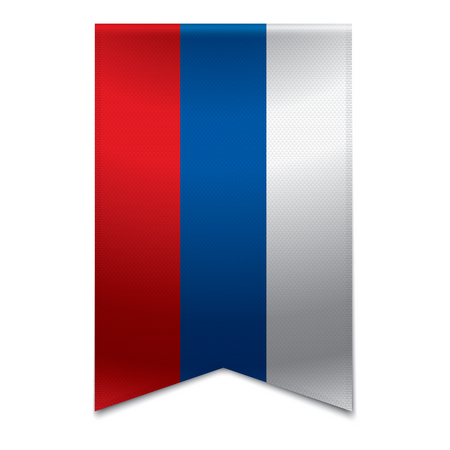 Realistic vector illustration of a ribbon banner with the russian flag  Could be used for travel or tourism purpose to the country russia in europe
