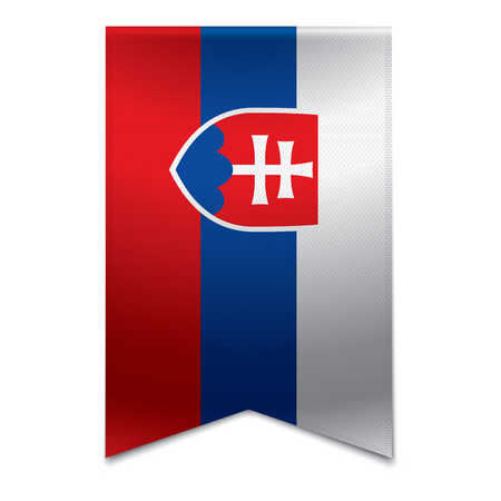 Realistic vector illustration of a ribbon banner with the slovakian flag  Could be used for travel or tourism purpose to the country slovakia in europe  Illustration