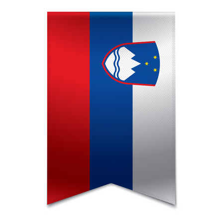 Realistic vector illustration of a ribbon banner with the slovenian flag  Could be used for travel or tourism purpose to the country slovenia in europe