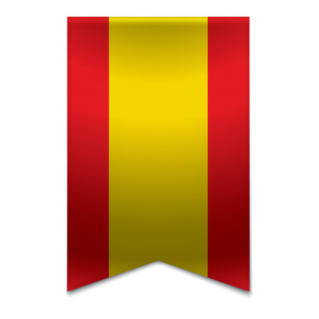 Realistic vector illustration of a ribbon banner with the spanish flag  Could be used for travel or tourism purpose to the country spain in europe  Illustration