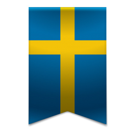 Realistic vector illustration of a ribbon banner with the swedish flag  Could be used for travel or tourism purpose to the country sweden in europe