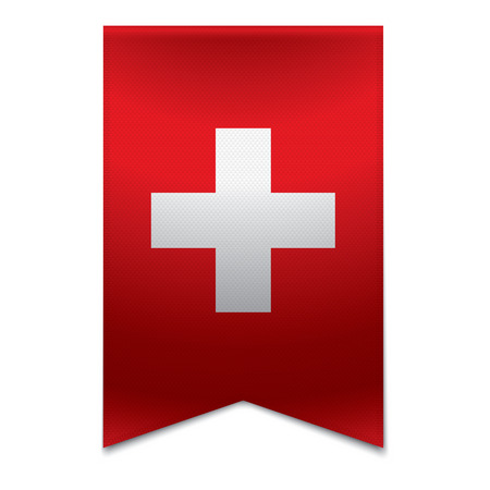 Realistic vector illustration of a ribbon banner with the swiss flag  Could be used for travel or tourism purpose to the country switzerland in europe