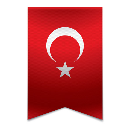 Realistic vector illustration of a ribbon banner with the turkish flag  Could be used for travel or tourism purpose to the country turkey in europe  Illustration
