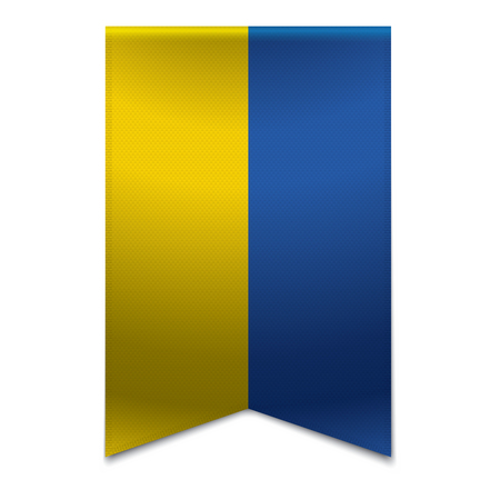 Realistic vector illustration of a ribbon banner with the ukrainian flag  Could be used for travel or tourism purpose to the country ukraine in europe