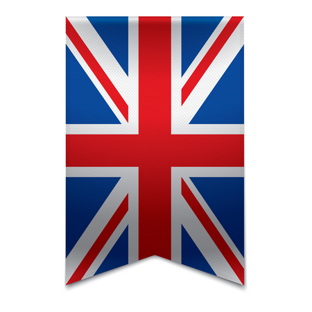 Realistic vector illustration of a ribbon banner with the british flag  Could be used for travel or tourism purpose to the country united kingdom in europe